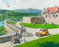 Mainstream Illustration, HARRY ANDERSON (American, 1906-1996). Fort Ticonderoga,Ticonderoga, New York, 1930 Austin Bautam, Great Moments in Early...