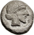 Ancients:Judaea, Ancients: JUDAEA. Gaza (Ca. 445-410 BC). AR quarter-shekel (15mm,3.47 gm, 5h)....