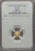 California Fractional Gold: , 1859 25C Liberty Round 25 Cents, BG-801, R.3, MS64 NGC. NGC Census:(14/25). PCGS Population (39/12). ...