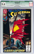 Modern Age (1980-Present):Superhero, Superman #75 Direct Sales Edition (DC, 1993) CGC Qualified NM 9.4Off-white to white pages....