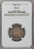 Seated Quarters, 1888-S 25C MS64 NGC....