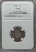 Bust Dimes: , 1829 10C Small 10C VF25 NGC. NGC Census: (6/263). PCGS Population(4/255). Mintage: 770,000. Numismedia Wsl. Price for prob...