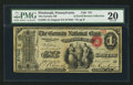 National Bank Notes:Pennsylvania, Pittsburgh, PA - $1 Original Fr. 380 The German NB Ch. # 757. ...
