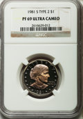Proof Susan B. Anthony Dollars: , 1981-S SBA$ Type Two PR69 Ultra Cameo NGC. NGC Census: (1306/31).PCGS Population (2982/132). ...
