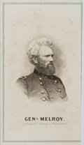 "Autographs:Statesmen, General L. Melroy Carte de Visite. 2.25"" x 4"". Etched bustportrait of the Civil War General. Some light foxing...."