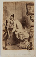 """Photography:CDVs, Satirical Carte de Visite. 2.5"""" x 4"""". Print pictures a man, nightshirt aflame with the printed exclamation """"Se..."""