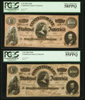 Confederate Notes:1864 Issues, T65 $100 1864 PF-2 Cr. 493. T65 $100 1864 PF-3 Cr. 494.. ... (Total: 2 notes)