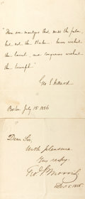 """Autographs:Authors, Two autographed notes signed George Stillman Hillard and George Pope Morris. 5"""" x 8"""". Both dated 1856. With smoothed folds...."""