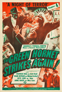 """The Green Hornet Strikes Again (Universal, 1941). One Sheet (27.5"""" X 40"""") Chapter 4 -- """"A Night of Terror..."""