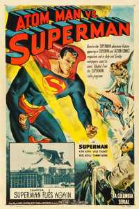 "Atom Man vs. Superman (Columbia, 1950). One Sheet (27.25"" X 40.5"") Chapter 1 -- ""Superman Flies Again.&qu..."