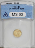 Commemorative Gold: , 1903 G$1 Louisiana Purchase/Jefferson MS63 ANACS. A nicely struckcanary-gold example with pretty luster. Crimson copper sp...