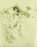 Fine Art - Painting, American:Contemporary   (1950 to present)  , WILLEM DE KOONING (Dutch-born American 1904 - 1997). Untitled(late drawing), 1967. Charcoal with oil on vellum laid on ...