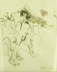 WILLEM DE KOONING (Dutch-born American 1904 - 1997) Untitled (late drawing), 1967 Charcoal with oil on vellum laid on...