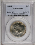 Kennedy Half Dollars: , 1983-P 50C MS64 PCGS. PCGS Population (41/143). NGC Census: (2/42).Mintage: 34,139,000. (#6743)...
