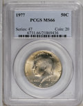 Kennedy Half Dollars: , 1977 50C MS66 PCGS. PCGS Population (123/26). NGC Census: (83/24).Mintage: 43,598,000. Numismedia Wsl. Price: $22. (#6731)...