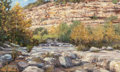 Fine Art - Work on Paper:Drawing, GAMBLE WHITEHEAD (American, 20th Century). Limestone Ledge,Barton Creek. Pastel on paper. 15-1/2 x 26-1/2 inches (39.4 ...