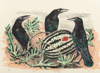 OTIS DOZIER (American, 1904-1987) Crows and Watermelon, 1987 Lithograph in colors 20-3/4 x 28-1/2