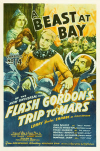 "Flash Gordon's Trip to Mars (Universal, 1938). One Sheet (27"" X 40.75"") Chapter 14 -- ""A Beast At Bay.&qu..."