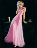 Pin-up and Glamour Art, EARL MORAN (American, 1893-1984). Pin-Up with Glass of Beer,beverage advertisement. Pastel on board. 13.5 x 10.5 in. (i...