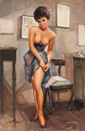 Pin-up and Glamour Art, BERTONAZZI (Italian, 20th Century). Getting Dressed. Oil oncanvas. 35.5 x 23 in.. Signed lower left. ...