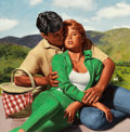 Pin-up and Glamour Art, DICK KOHFIELD (American, 1931-2012). Passionate Awakening,paperback cover, 1990. Oil on canvas laid on masonite. 14 x1... (Total: 2 Items)