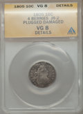 Early Dimes, 1805 10C Four Berries --Plugged, Damaged-- ANACS. VG Details. JR-2.NGC Census: (8/243). PCGS Population (16/320). Mintage:...