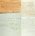 Autographs:Celebrities, [19th Century Notables]. Group of Four Signatures including thoseof Theodore Dwight, Henry B. Blackwell, Joel... (Total: 4 Items)