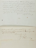 "Autographs:Authors, [Gamaliel Bailey]. Group of Two Autograph Letters Signed ""G.Bailey."" The first, a partial ALS, two pages, 7.5"" x 9"", n....(Total: 2 Items)"