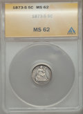 Seated Half Dimes: , 1873-S H10C MS62 ANACS. NGC Census: (40/180). PCGS Population(45/171). Mintage: 324,000. Numismedia Wsl. Price for problem...
