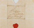 "Autographs:Non-American, King William IV of England Free Frank ""Clarence"" with Complete WaxSeal. One page, 9"" x 7.5"". Addressed entirely in his hand..."