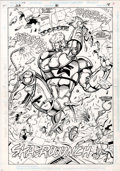 Original Comic Art:Splash Pages, Kevin West and Rick Burchett - Justice League America #80, BoosterGold Splash Page 18 Original Art (DC, 1993)....