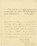 "Autographs:U.S. Presidents, Dual Autograph Document Signed, ""John Quincy Adams"" and ""Danl Webster"", one page, 8"" x 10"", respectively dated Sept..."