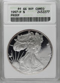 Modern Bullion Coins: , 1997-P $1 Silver Eagle PR66 Deep Cameo ANACS. NGC Census: (6/3169). PCGS Population (12/2899). Numismedia Wsl. Price: $64....