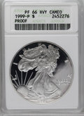 Modern Bullion Coins: , 1999-P $1 Silver Eagle PR66 Deep Cameo ANACS. NGC Census: (1/3870). PCGS Population (15/3410). Numismedia Wsl. Price: $51....