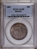 Coins of Hawaii: , 1883 50C Hawaii Half Dollar AU58 PCGS. PCGS Population (34/163).NGC Census: (28/110). Mintage: 700,000. (#10991)...