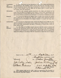 1941 Josh Gibson Signed Puerto Rican League Contract