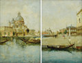 19th Century European:Landscape, BENEDETTI (Italian Nineteenth Century). Piazza San Marco andView of the Basilica di San Marco (a pair). Oil on arti...(Total: 2 Items)