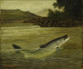 19th Century European, A. Roland Knight, British (active 1810-1840). Pike on aLine, 19th century. Oil on canvas, framed. Signed lower left:Ro... (Total: 2 Items)