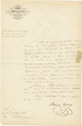 "Autographs:Non-American, Benito Juarez Manuscript Document Signed, one page, 8.5"" x 13.25"",Oaxaca, Mexico, April 6, 1847. Secretarially penned in Sp...(Total: 1 Item)"