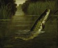 Fine Art - Painting, European:Antique  (Pre 1900), A. Roland Knight (British, active 1810-1840). A Hooked Pike,19th century. Oil on canvas. 10-1/2 x 12-1/4 inches (26.7 x...