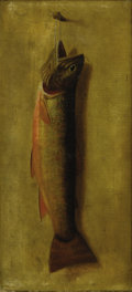 American:Sporting, Hanging Trout. . 19th Century American School. Oil oncanvas, framed. 17.25 inches high x 8 inches wide. ...
