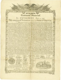 """Centennial Facsimile of the Declaration of Independence, one page, 15"""" x 19.5"""", (Philadelphia: James McBride..."""