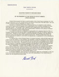 "Autographs:U.S. Presidents, Gerald Ford Presidential Pardon Document Signed, ""Granting Pardonto Richard Nixon / by the President of the United States o...(Total: 1 Item)"