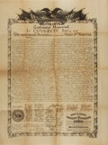 """Miscellaneous:Ephemera, James D. McBride 1876 Centennial Memorial Copy of the Declarationof Independence. One page, 14.75"""" x 19.5"""". Printed on onio..."""