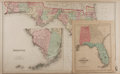 """Books:Maps & Atlases, [Florida]. Group of Two Late Nineteenth Century Maps Featuring Florida. Includes a double-page map of Florida, 28"""" x 17"""", wi..."""