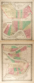 Books:Maps & Atlases, Group of Two Prints Containing Four Maps of U.S. Cities. Includes Louisville with New Orleans and Pittsburgh with Cincinnati... (Total: 2 Items)