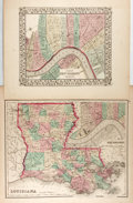 "Books:Maps & Atlases, Group of Two Maps New Orleans. Includes a plan of New Orleans, 1867, by S. Augustus Mitchell Jr., 15"" x 12"", and a map of Lo..."