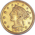 Territorial Gold, 1849 $5 Moffat & Co. Five Dollar AU58 NGC. K-4a, R.4....