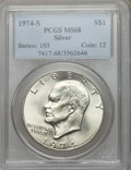 Eisenhower Dollars: , 1974-S $1 Silver MS68 PCGS. PCGS Population (966/3). NGC Census:(175/1). Mintage: 1,900,156. Numismedia Wsl. Price for pro...