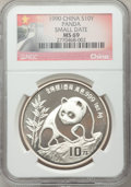 China, China: People's Republic Lot of Seven Certified silver Panda Coins 1990-1996,... (Total: 7 coins)